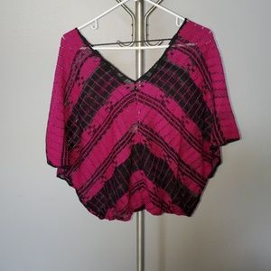 Free People Hot Pink nitted top with Black design